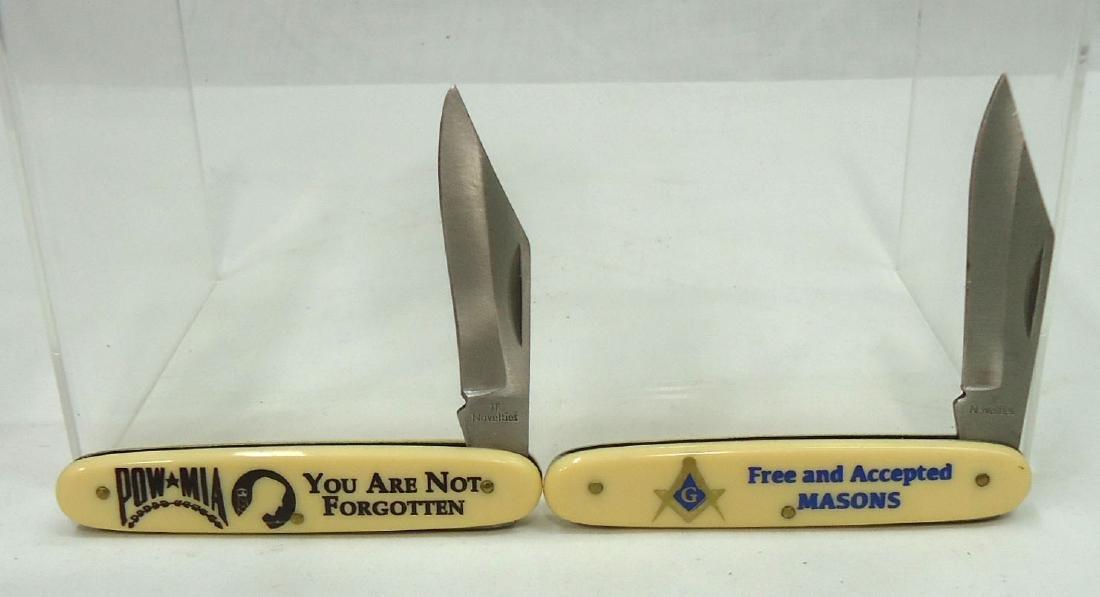 """(2) 3 3/8"""" Masons & POW-MIA Pocket Knife"""