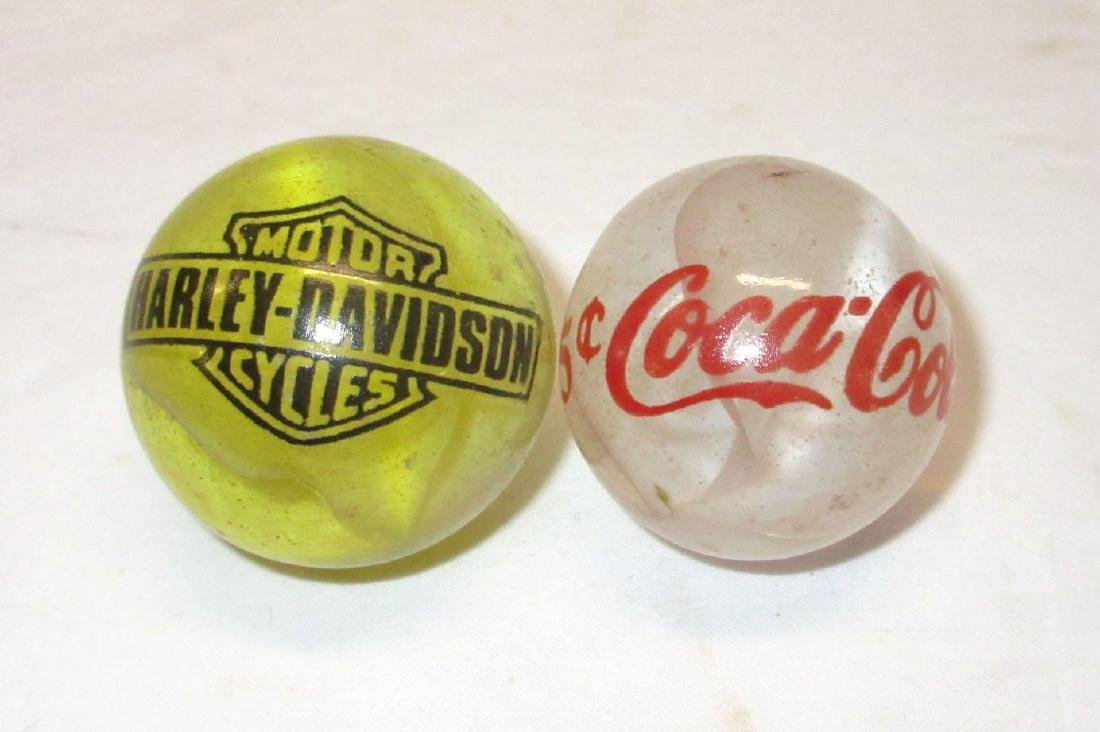 2 Modern Coca Cola & Harley Davidson Marbles