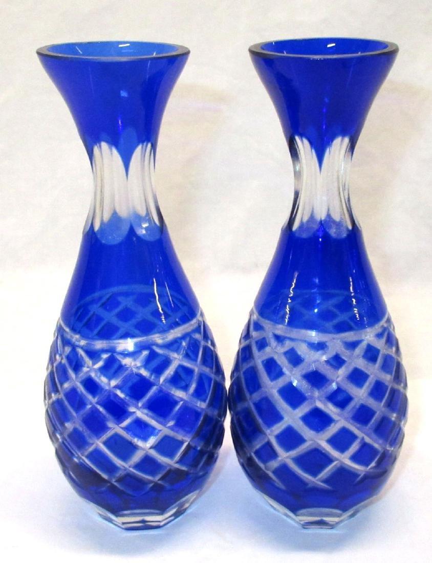 Pr. Cobalt to Clear Vases