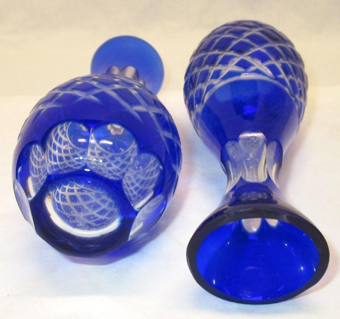 Pr. Cobalt to Clear Vases - 2