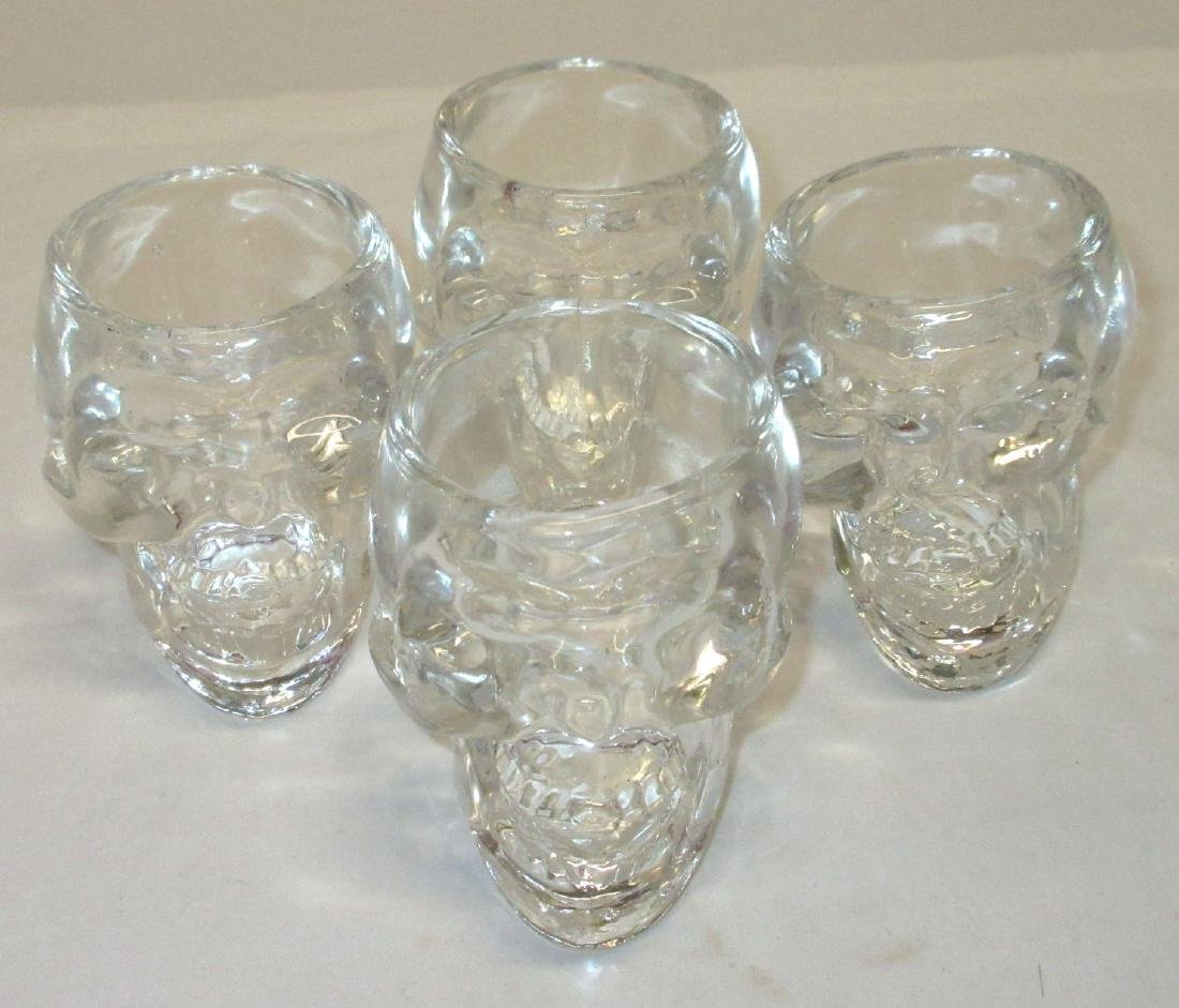 4 Glass Skull Shot Glasses