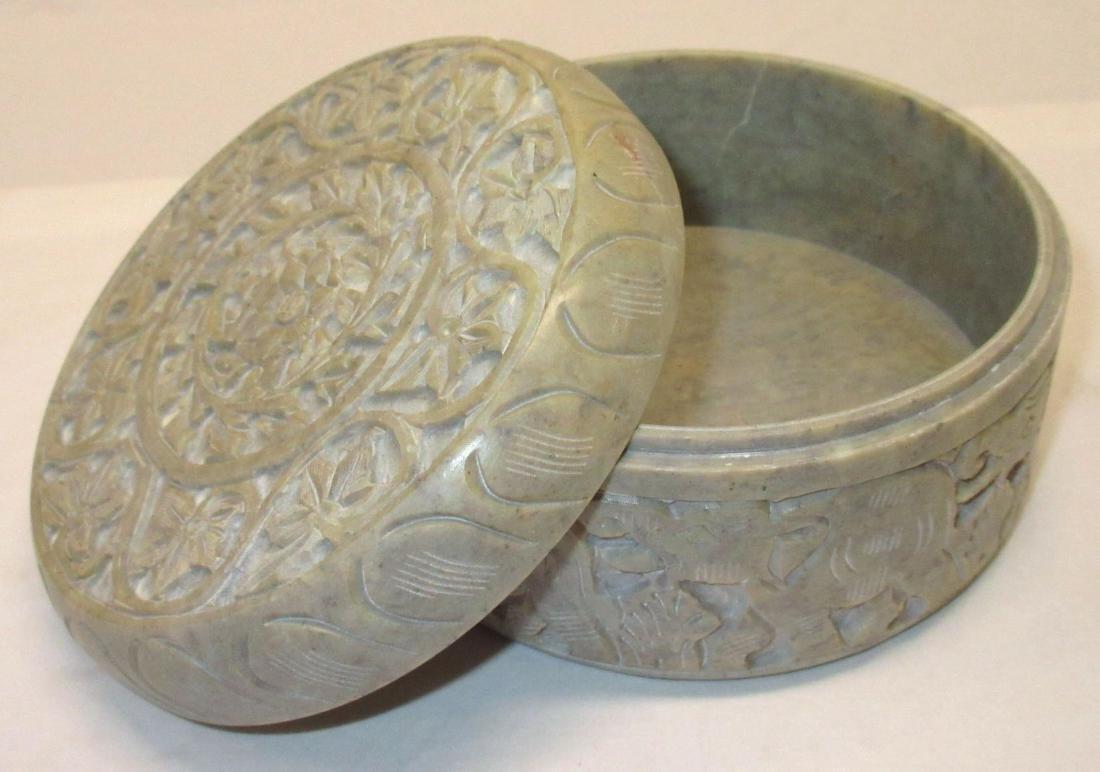 Oriental Carved Hardstone Box - 2