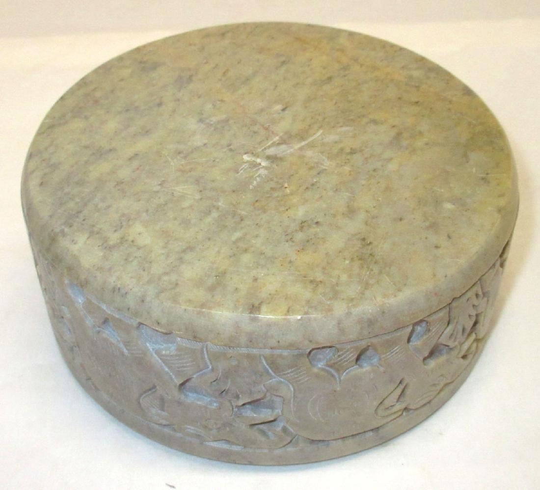Oriental Carved Hardstone Box - 3