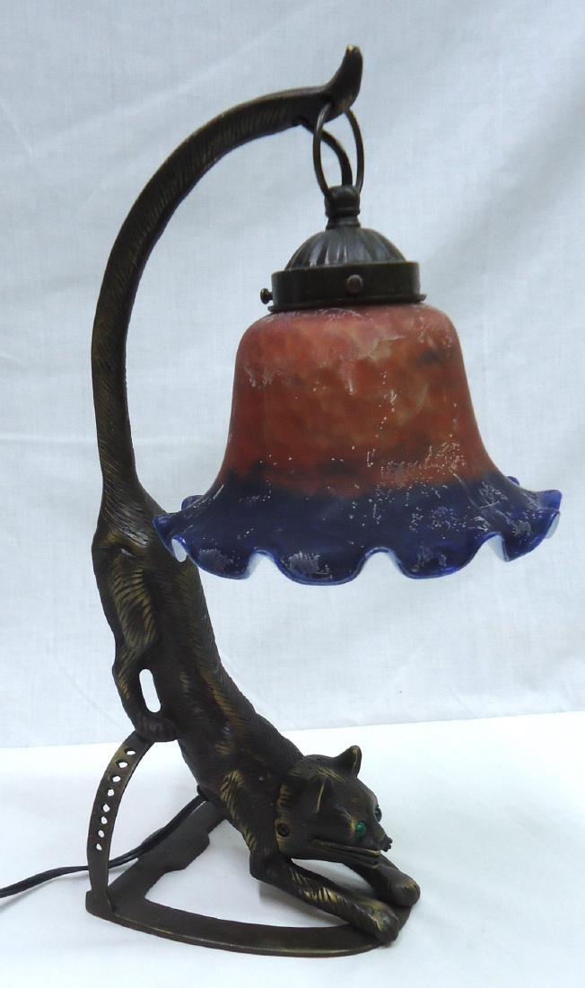 Bronze Cat Lamp w/ Art Glass Shade