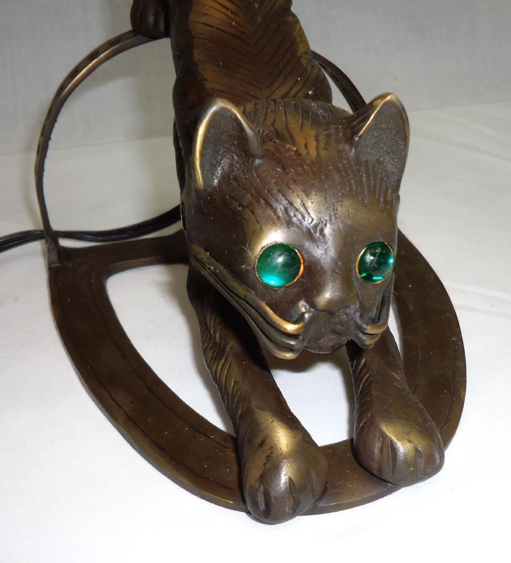 Bronze Cat Lamp w/ Art Glass Shade - 2