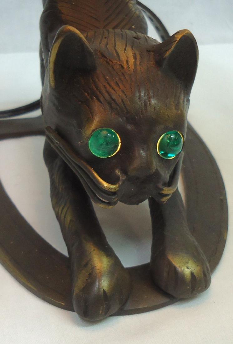 Bronze Cat Lamp w/ Art Glass Shade - 4