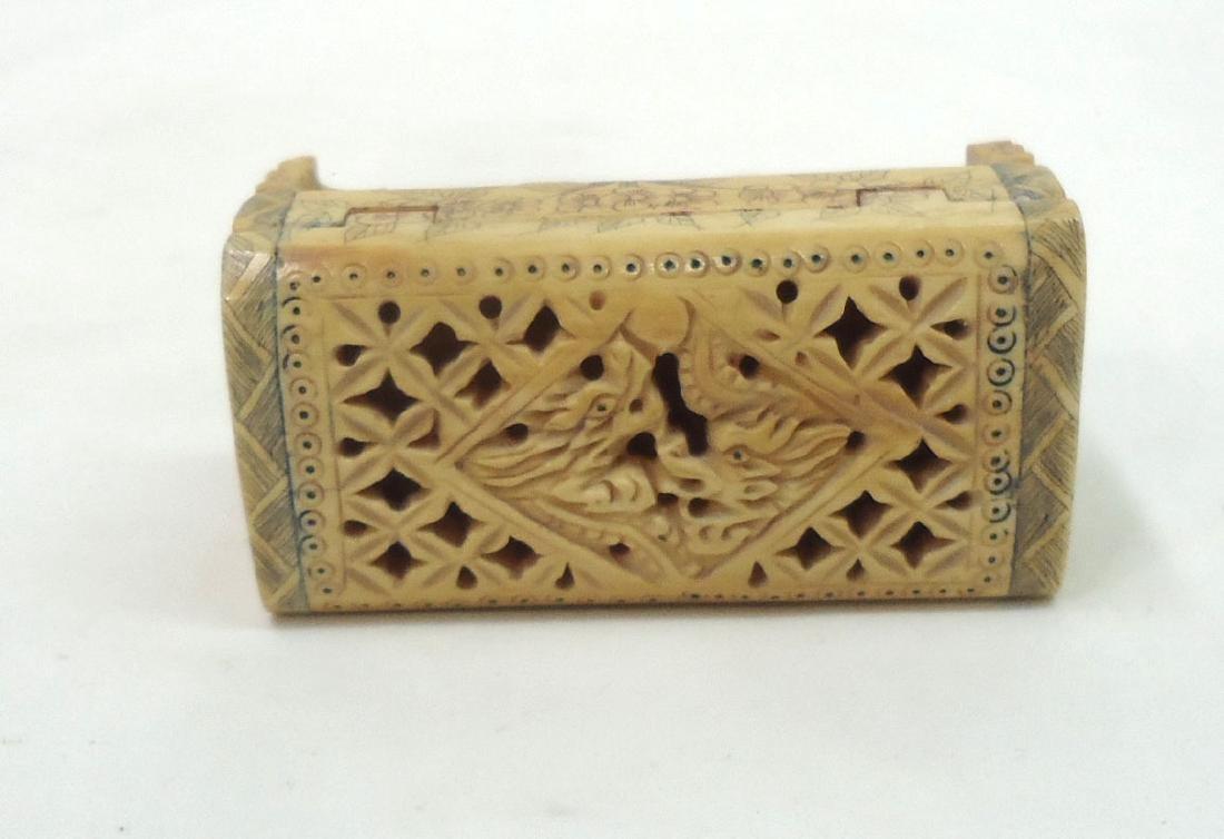 Oriental Carved Bone Cricket Box - 2