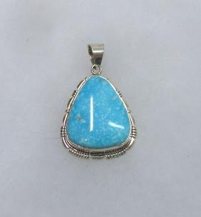 Indian Silver & Turquoise Pendant