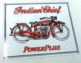 Modern Porcelain Indian Motorcycle Sign