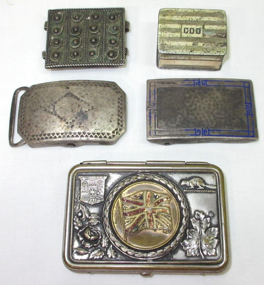 2 Sterl. Buckles, Sterl. Box & Match Safe