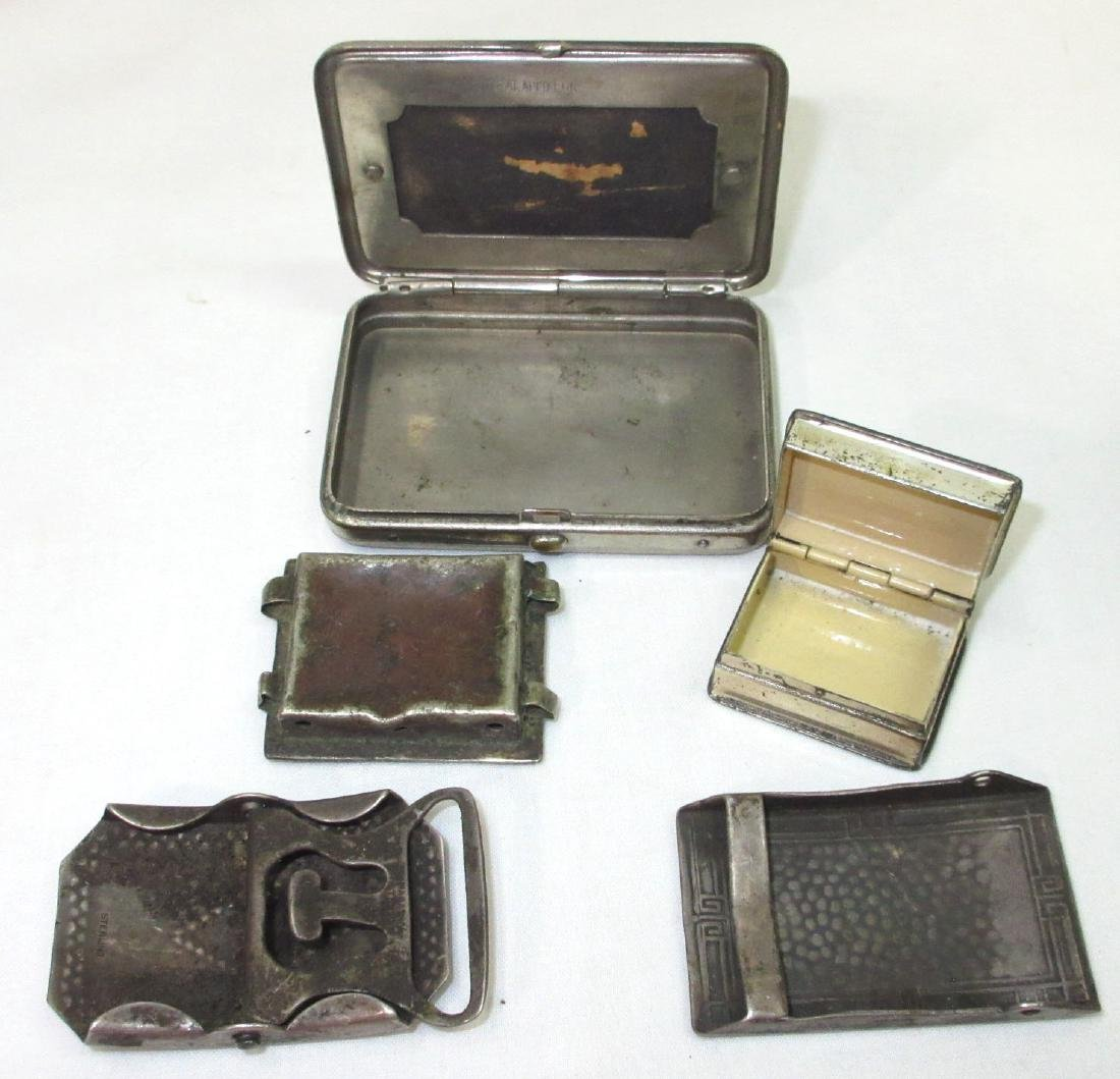 2 Sterl. Buckles, Sterl. Box & Match Safe - 2