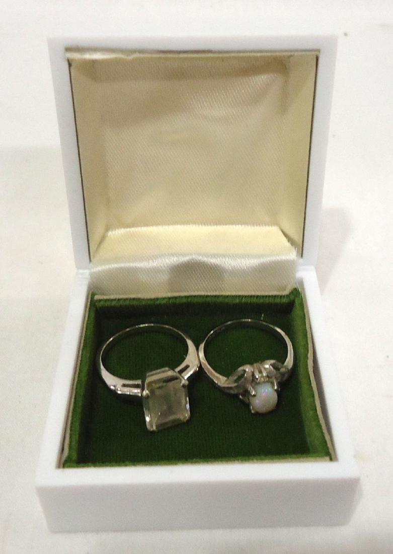 10k Opal Ring & 14k White Topaz Ring