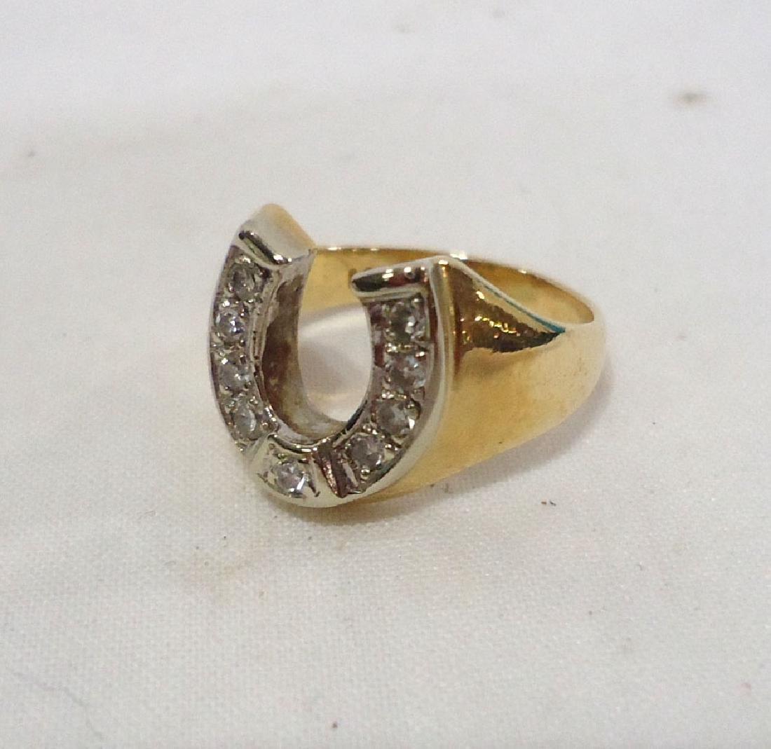 14k Diamond Horseshoe Ring - 2