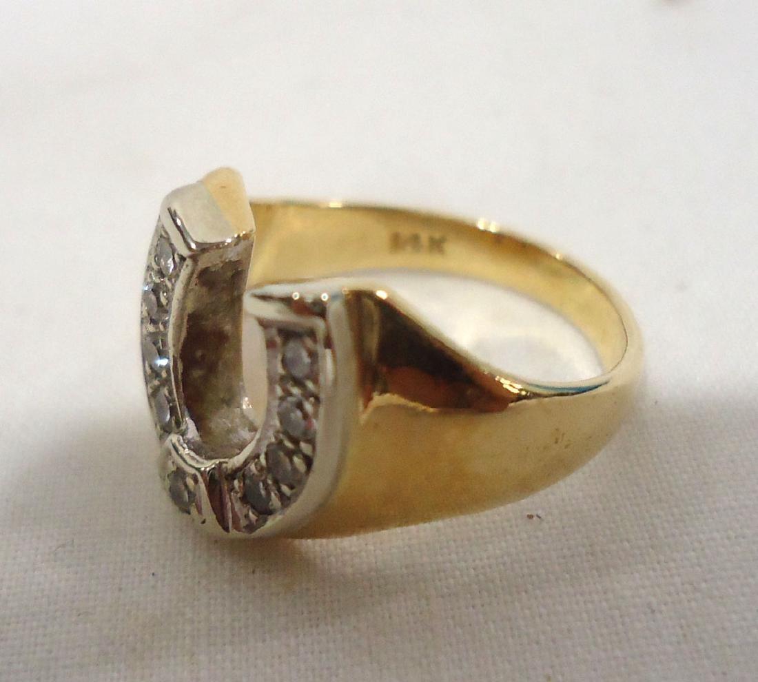 14k Diamond Horseshoe Ring - 3