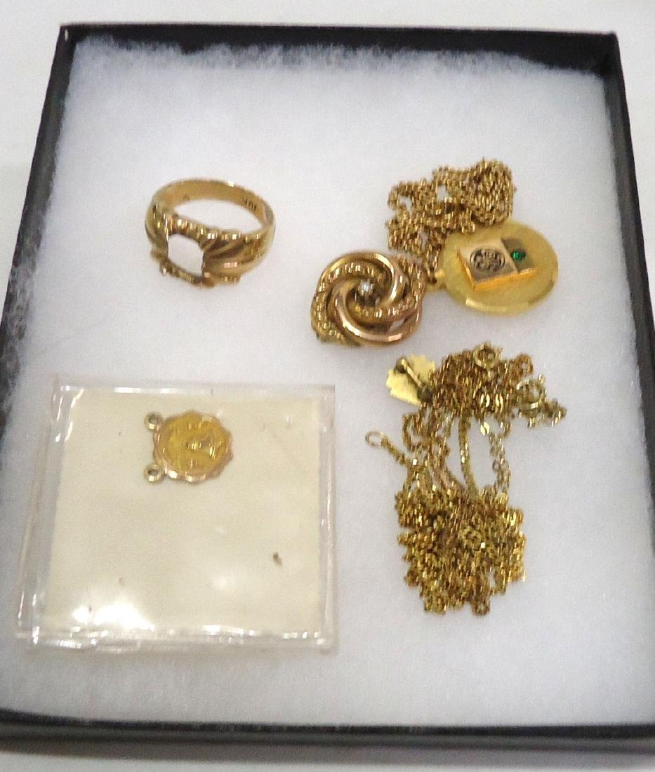 10k Pendant, Ring, & Pin + G.F. Pin & Necklace