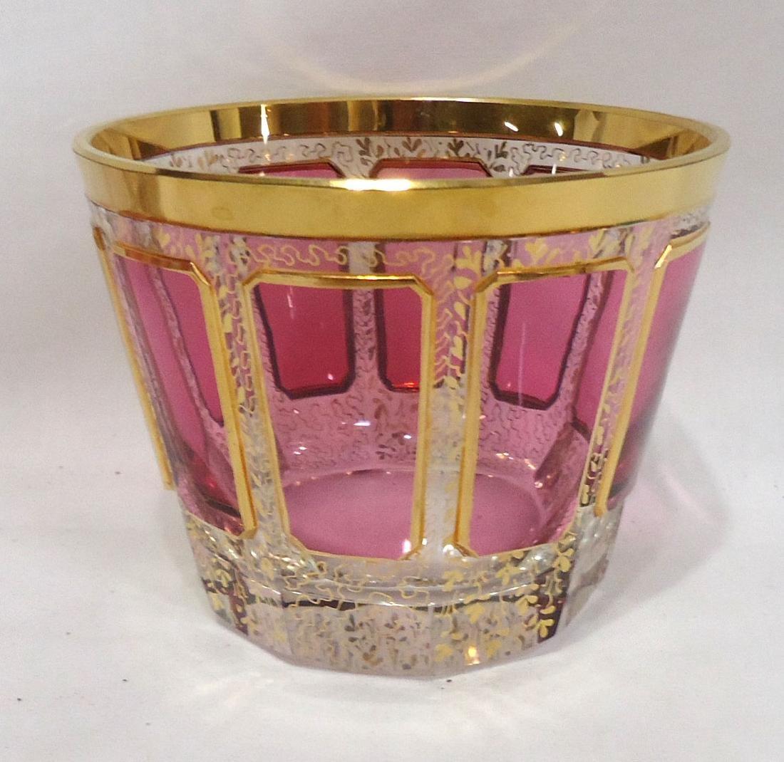 4 Glasses w/ Cranberry & Gold - 2