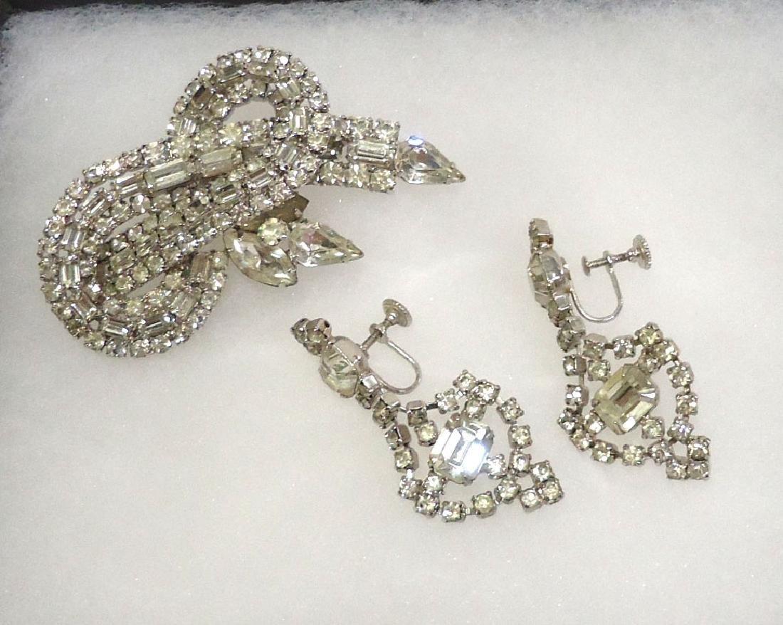 Rhinestone Brooch & Earrings
