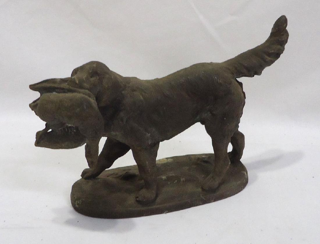 Spelter Dog w/ Duck Statue