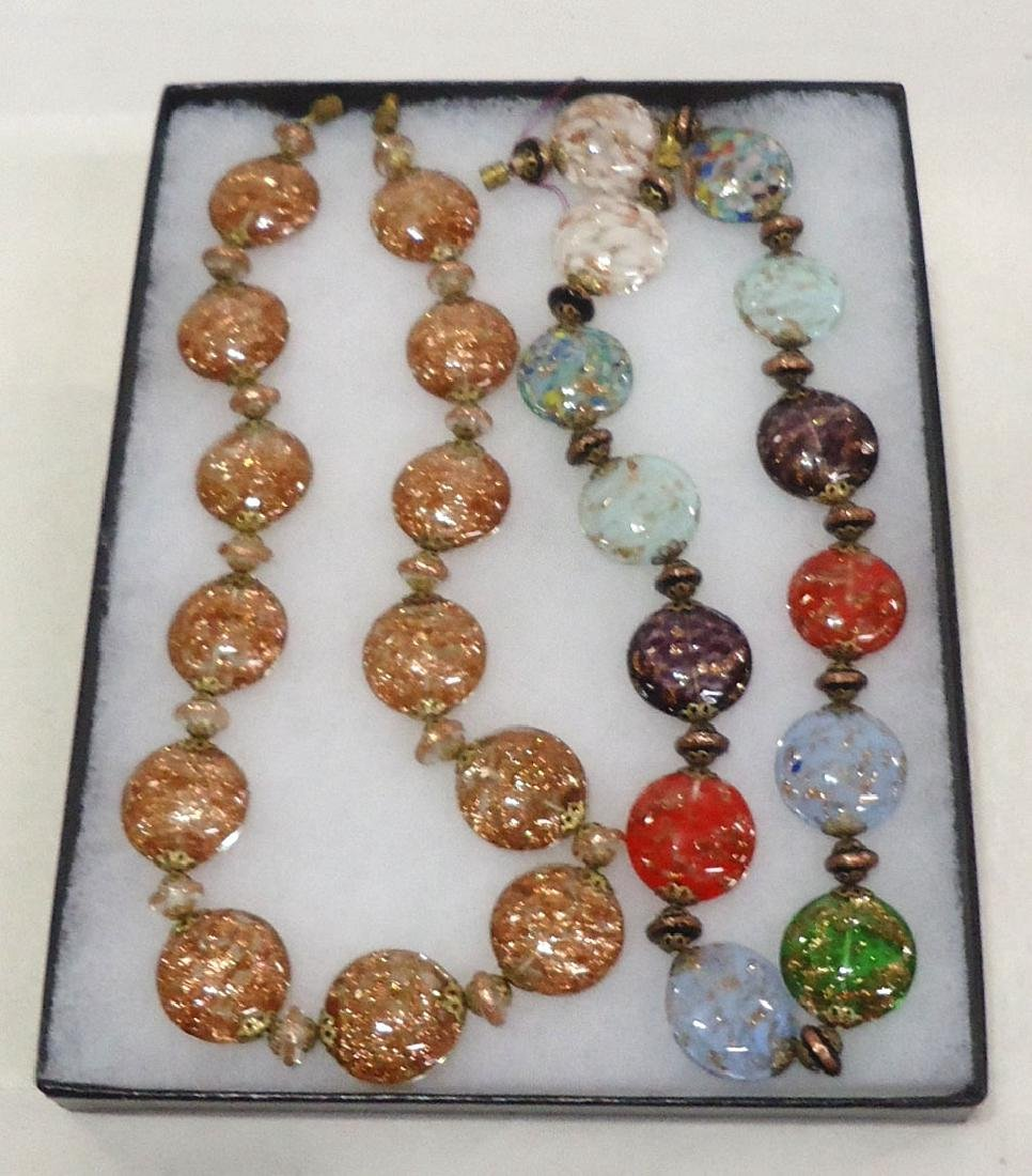2 Lovely Venetian Glass Bead Necklaces