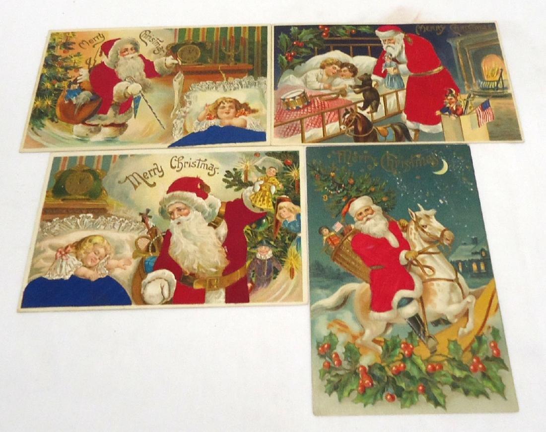 4 Flocked Santa Christmas Postcards
