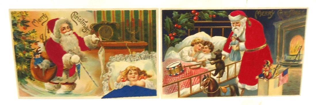 4 Flocked Santa Christmas Postcards - 2