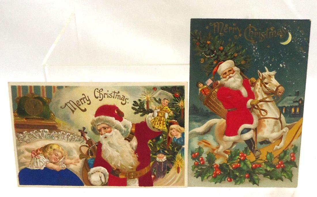4 Flocked Santa Christmas Postcards - 3