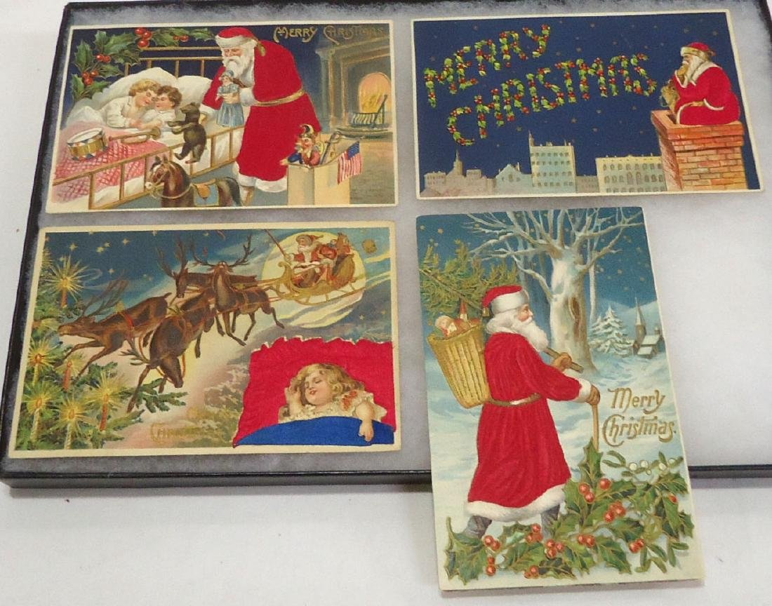 4 Flocked Santa Christmas Postcards