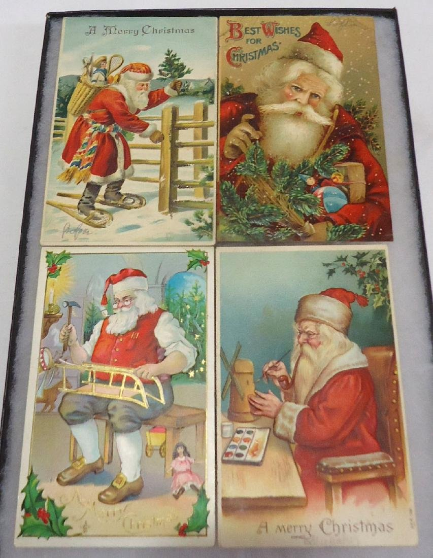 4 Santa Claus Christmas Postcards
