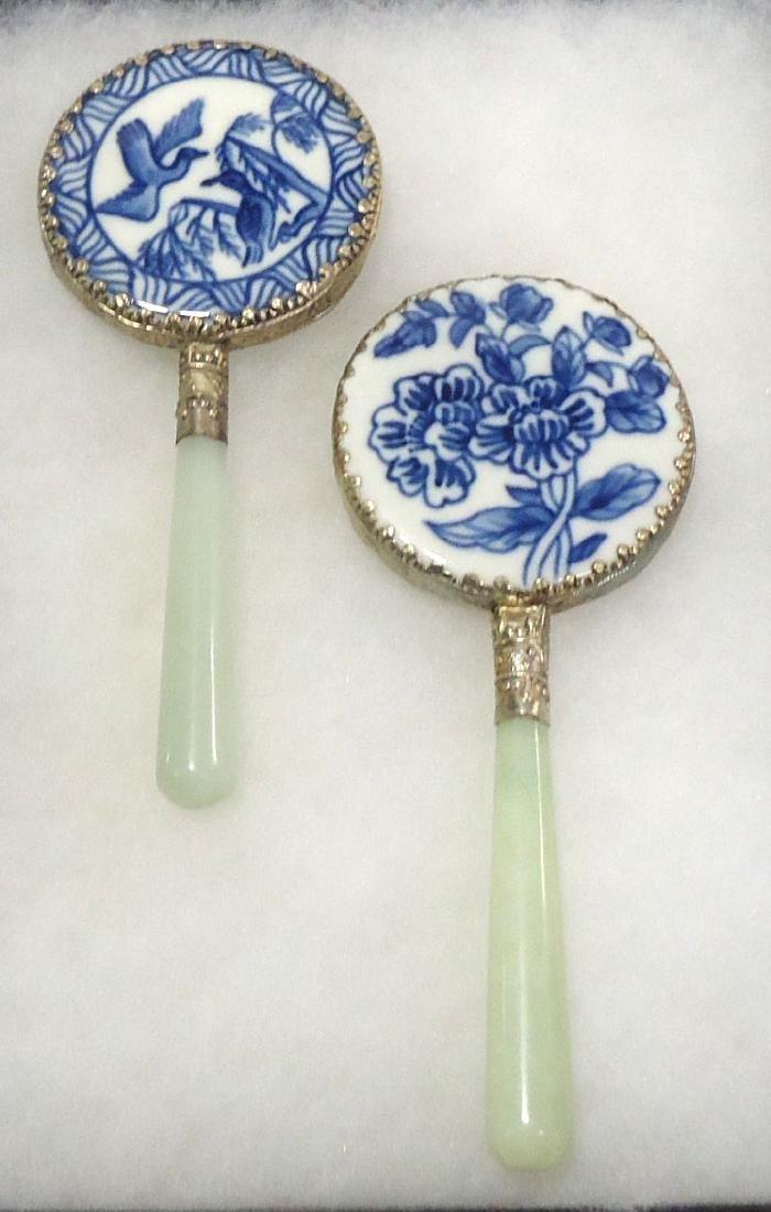 2 Oriental Hand Mirrors