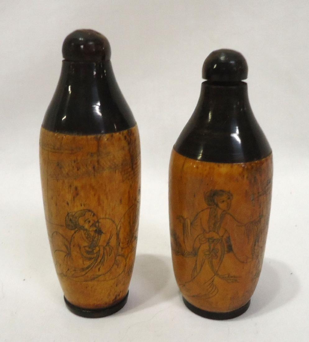 2 Oriental Carved Bone Snuff Bottles