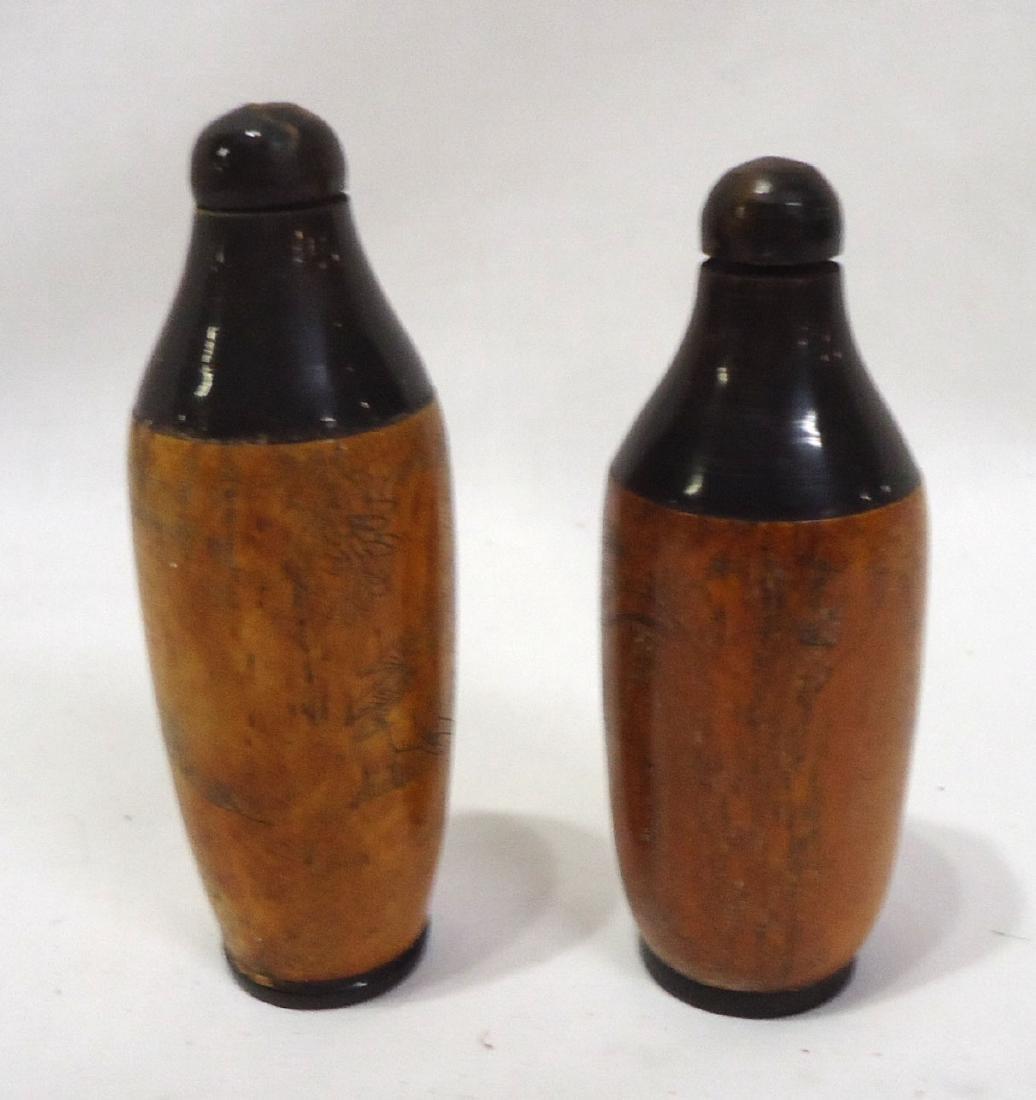 2 Oriental Carved Bone Snuff Bottles - 2