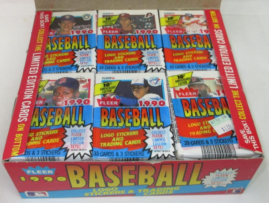 Box of 1990 Fleer Baseball Cards - 2
