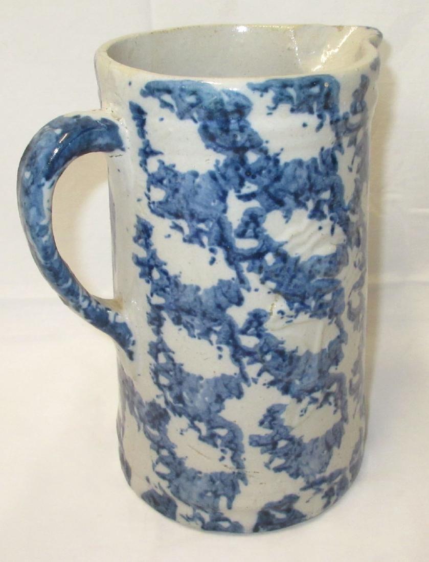 Blue Spongeware Pitcher - 2
