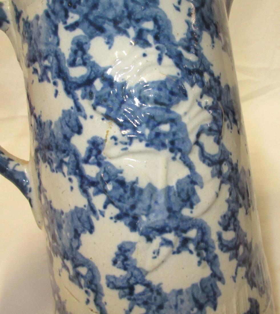 Blue Spongeware Pitcher - 3