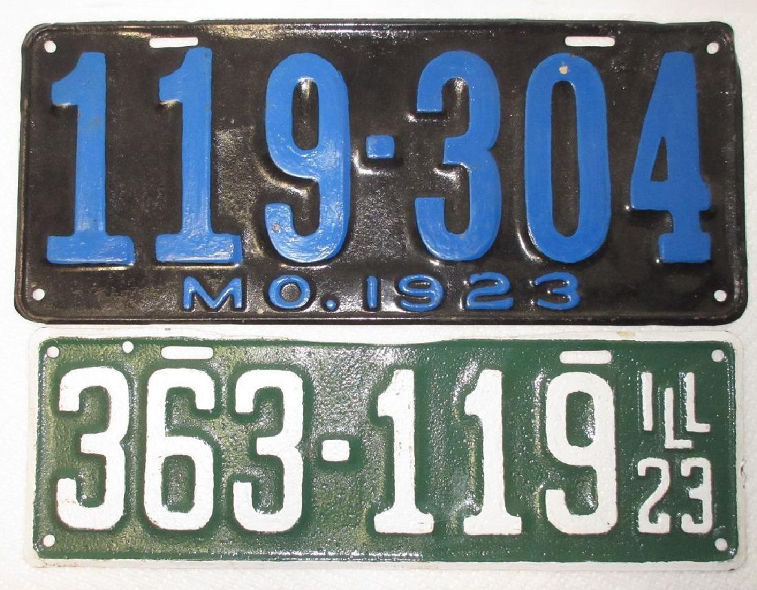 1923 IL & MO License Plates