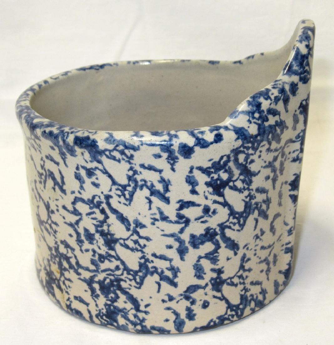 Blue Spongeware Salt Crock - 2