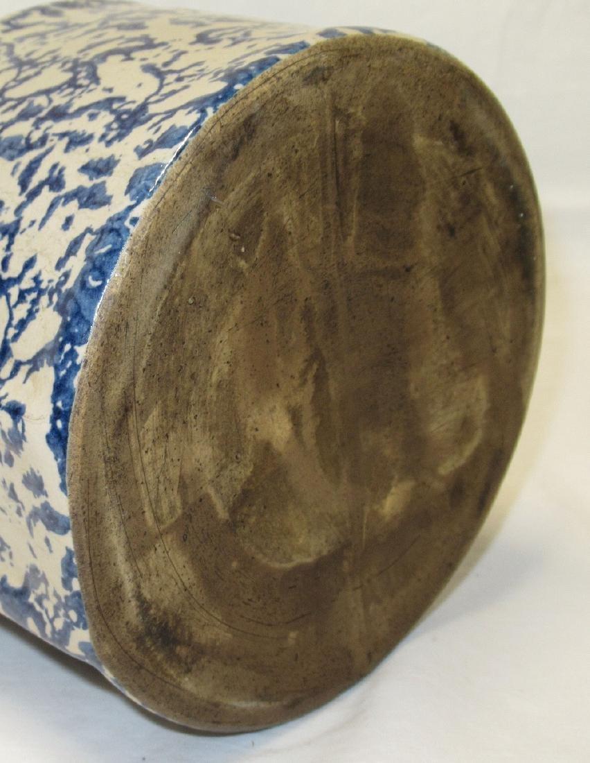 Blue Spongeware Salt Crock - 3