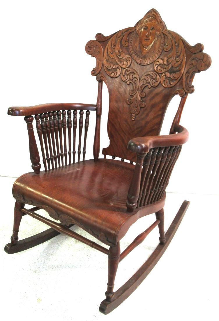 Rocking Chair w/ Carved Ladies Head
