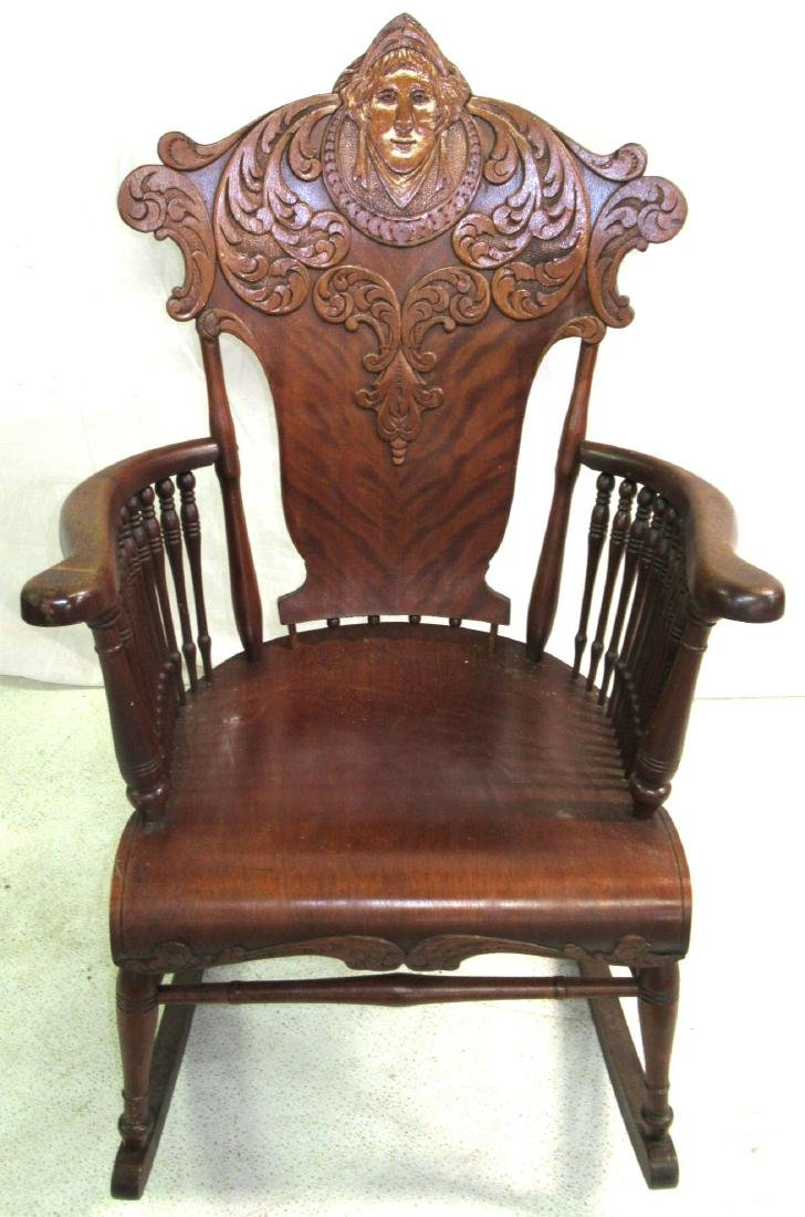 Rocking Chair w/ Carved Ladies Head - 2