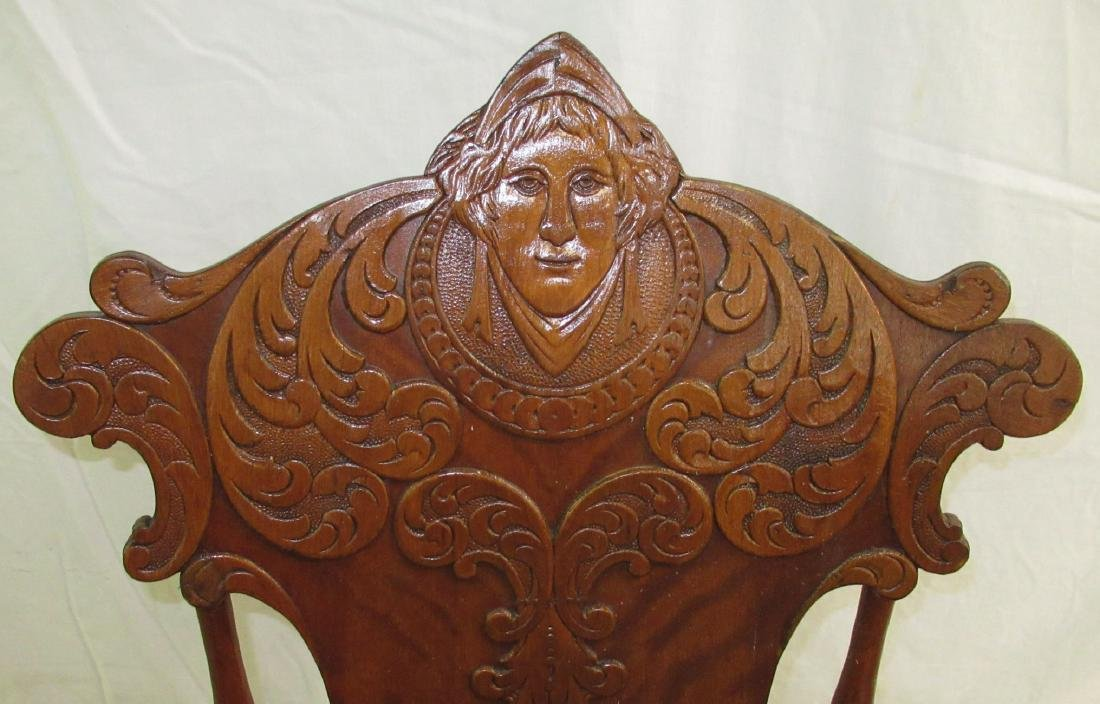Rocking Chair w/ Carved Ladies Head - 3