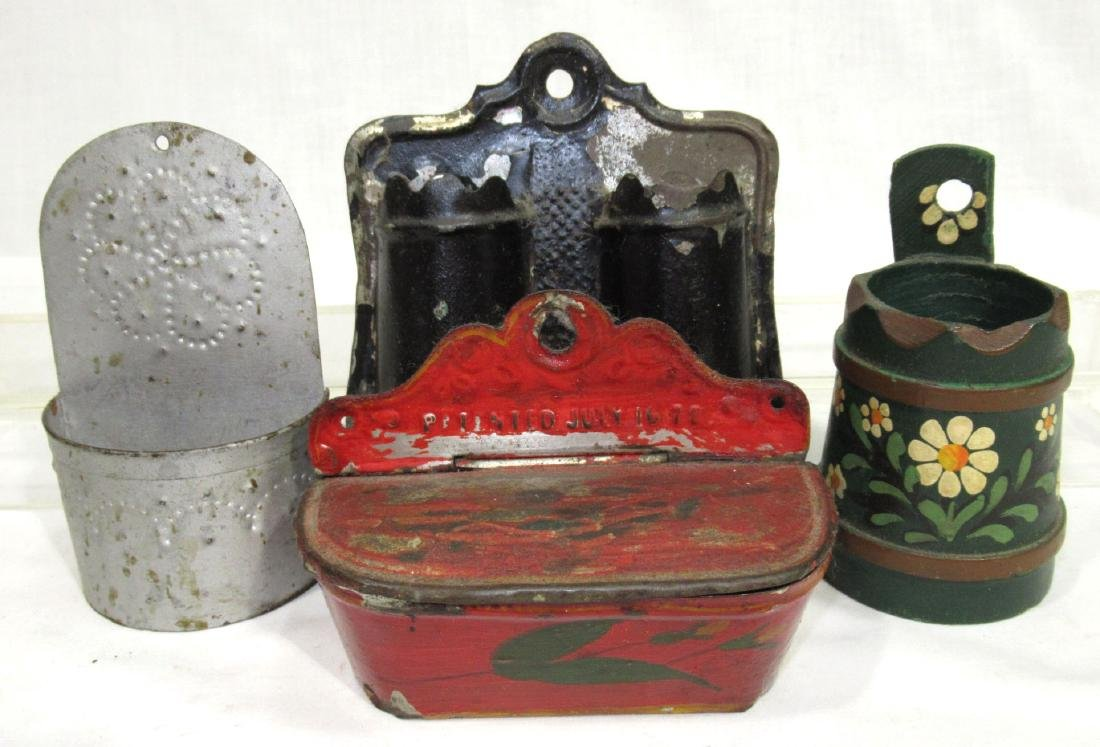 4 Early Tin & Wood Match Safes