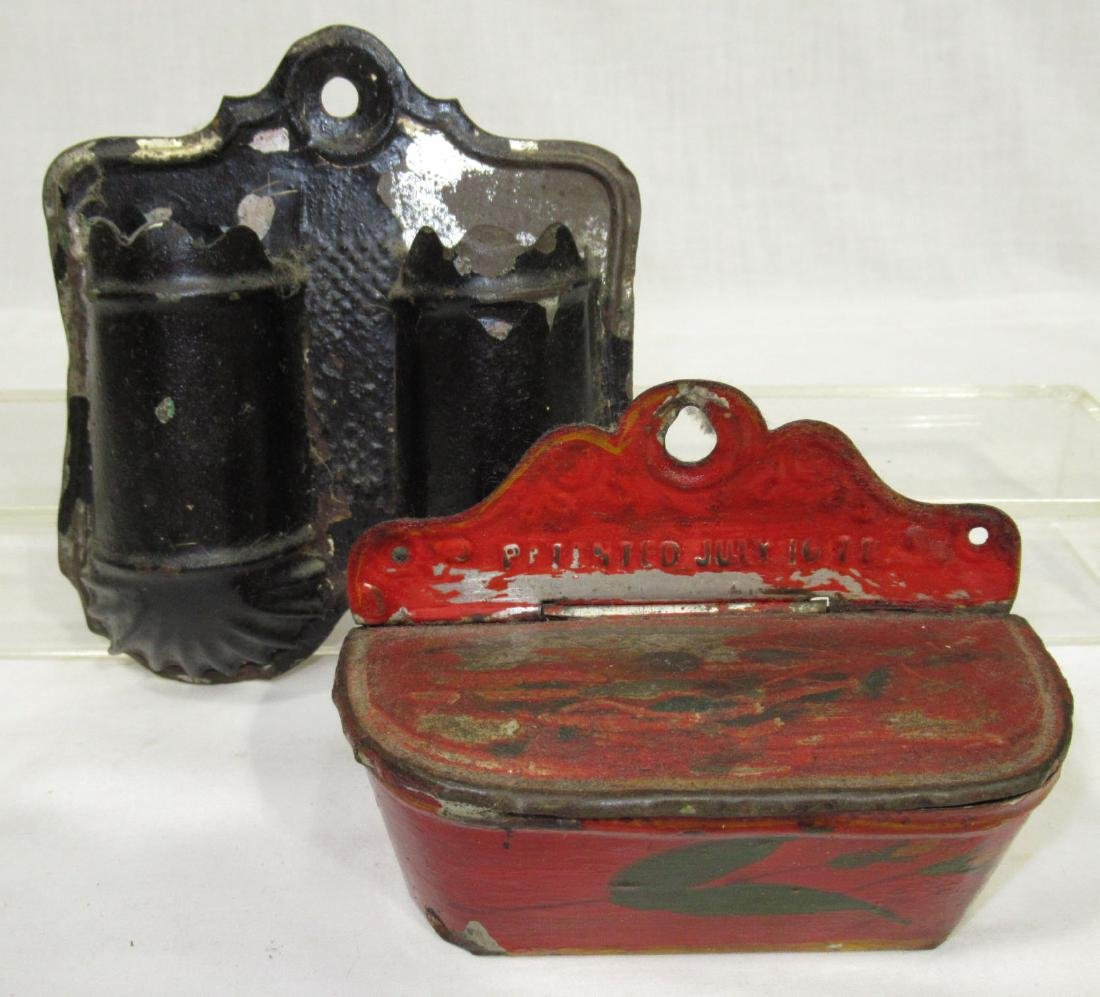 4 Early Tin & Wood Match Safes - 2