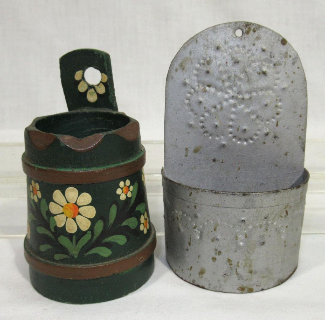 4 Early Tin & Wood Match Safes - 3