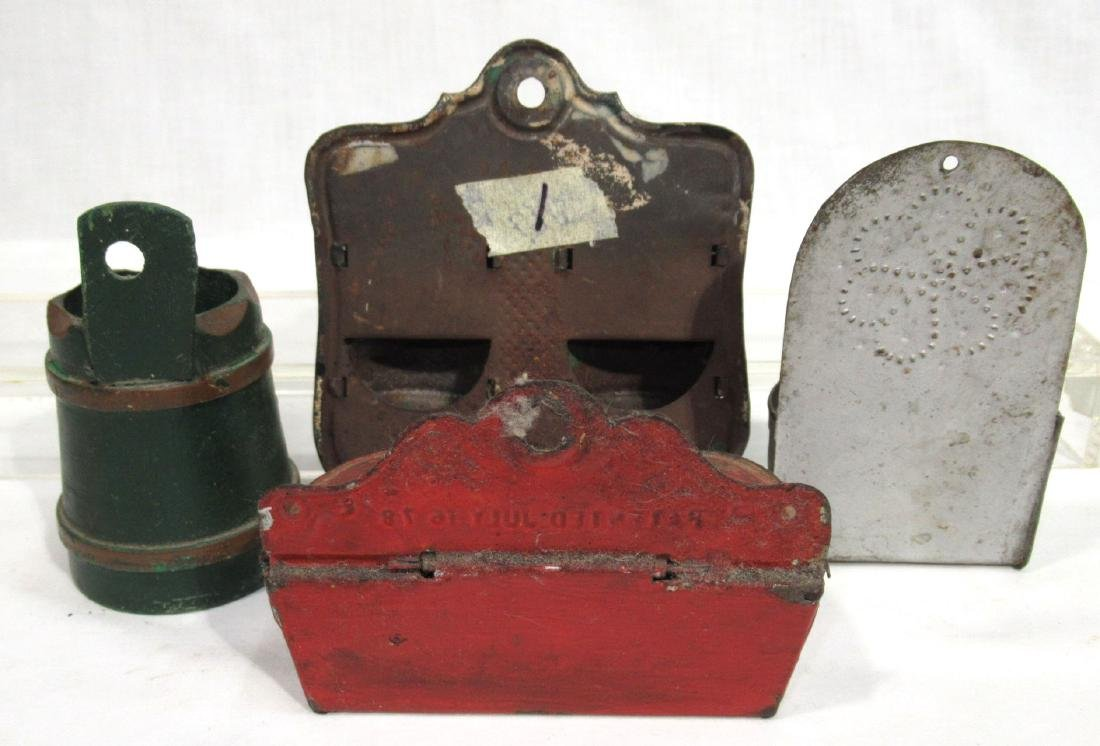 4 Early Tin & Wood Match Safes - 4