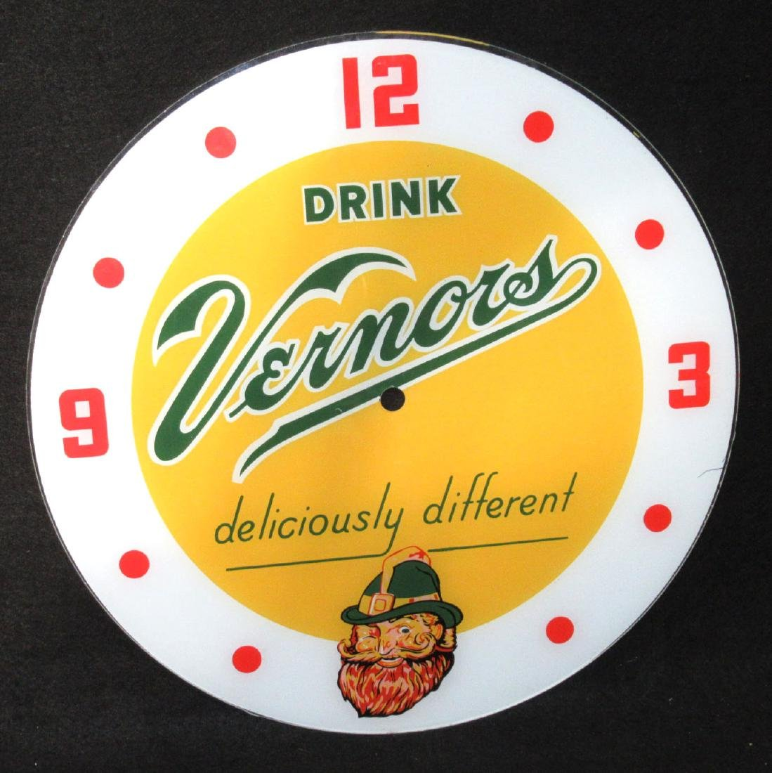 Vtg. Vernors Neon Clock Face