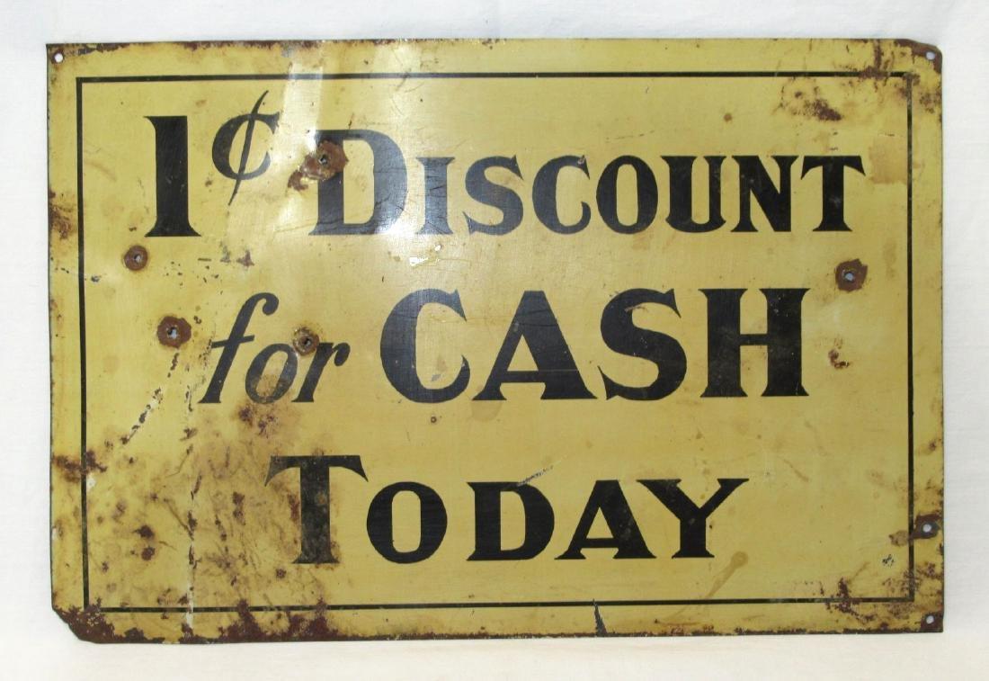 Tin 1 Cent Discount Sign