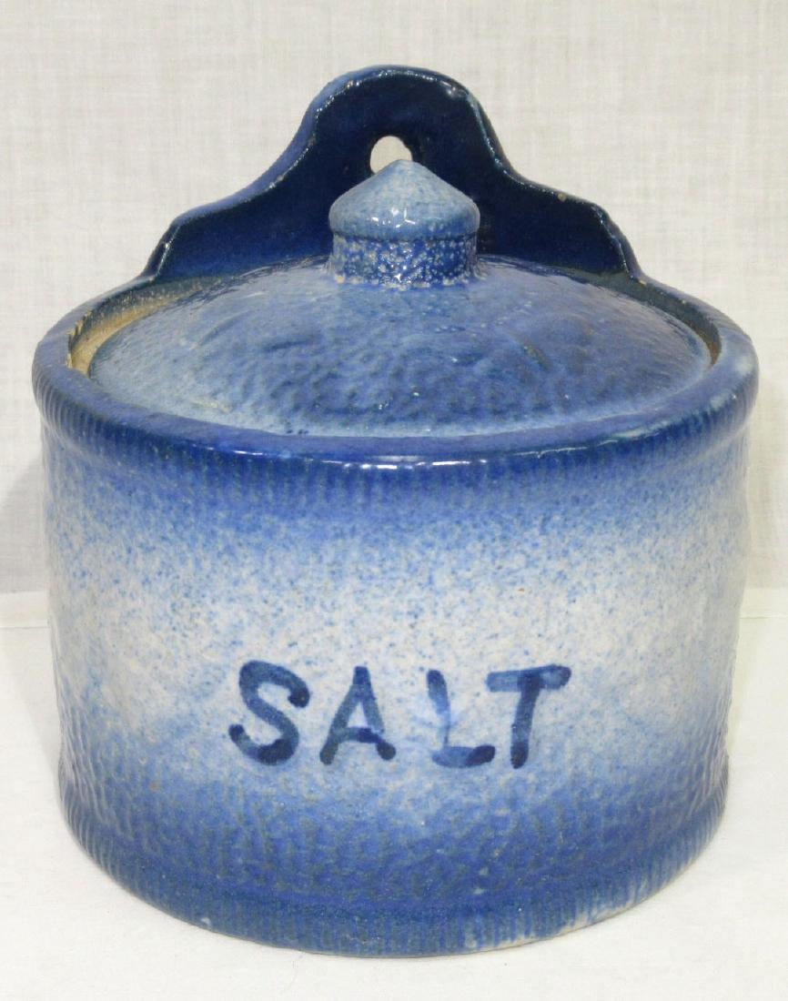 Blue & White Stoneware Salt Crock