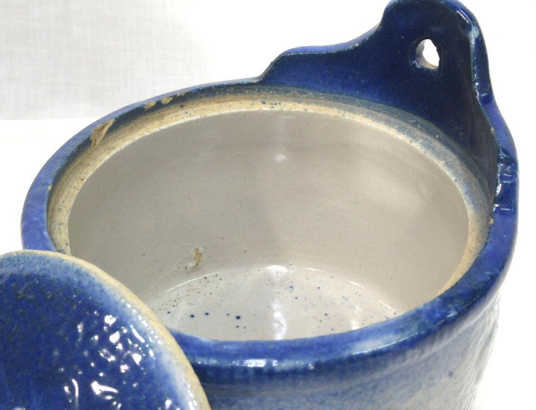 Blue & White Stoneware Salt Crock - 3