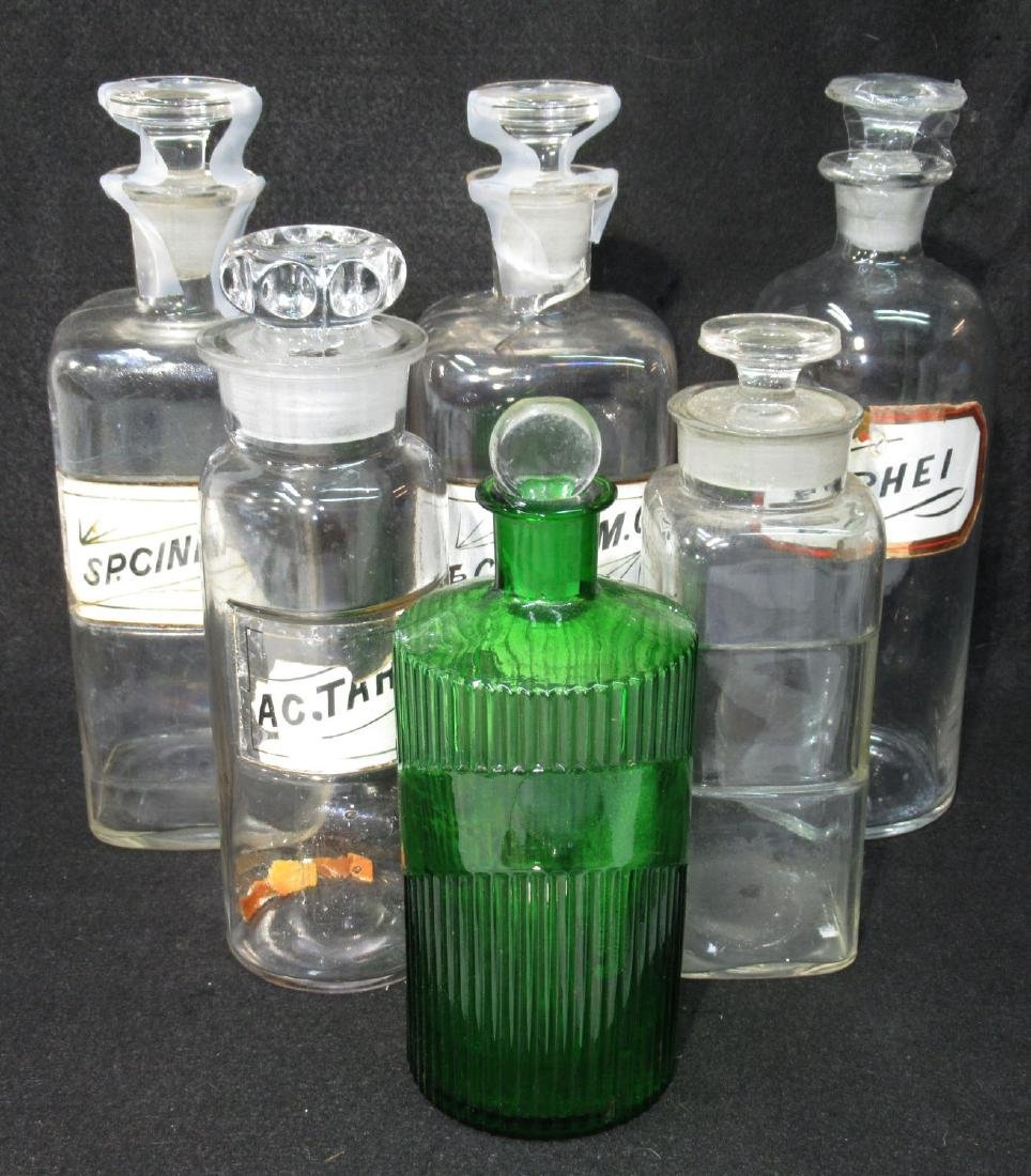 6 Glass Pharmacy Bottles