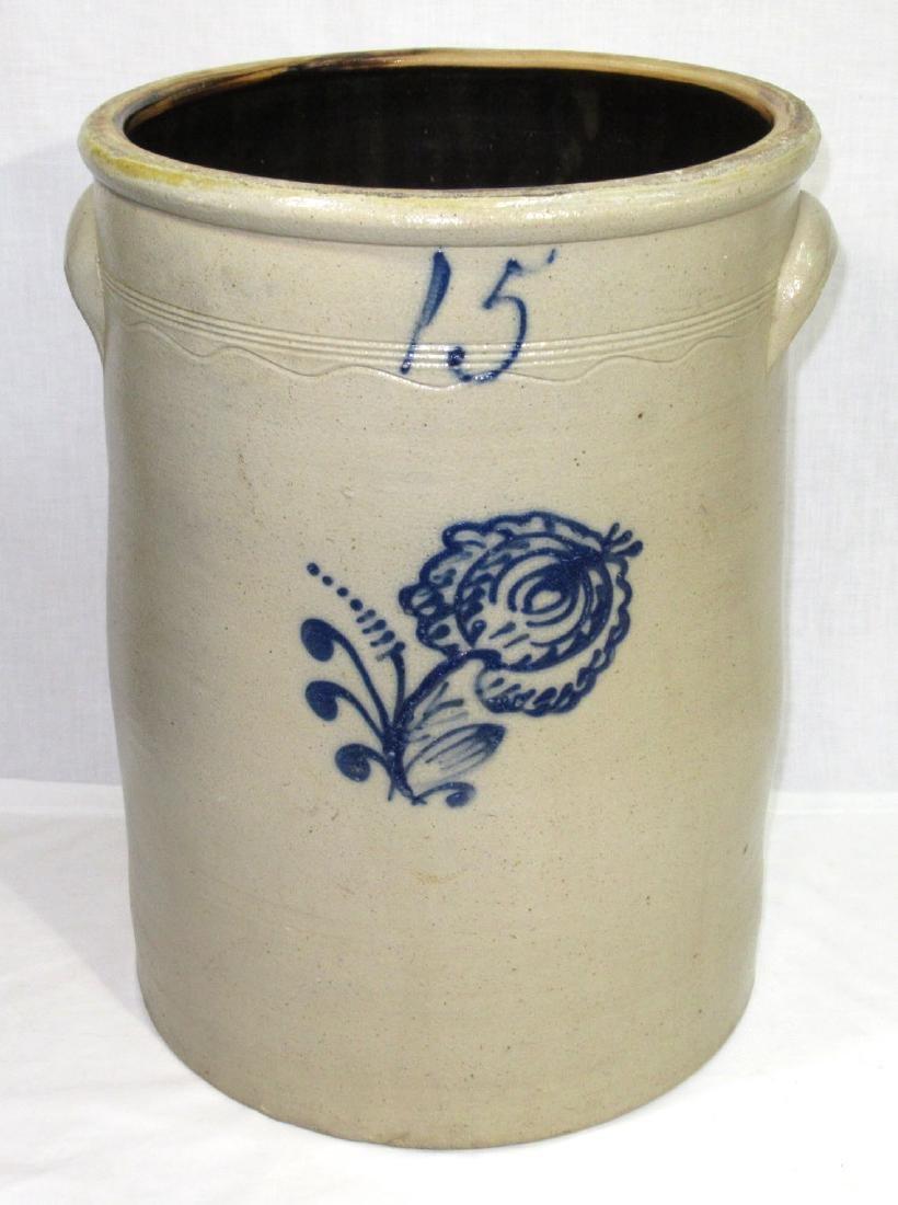 15 Gal. Decorated Stoneware Crock